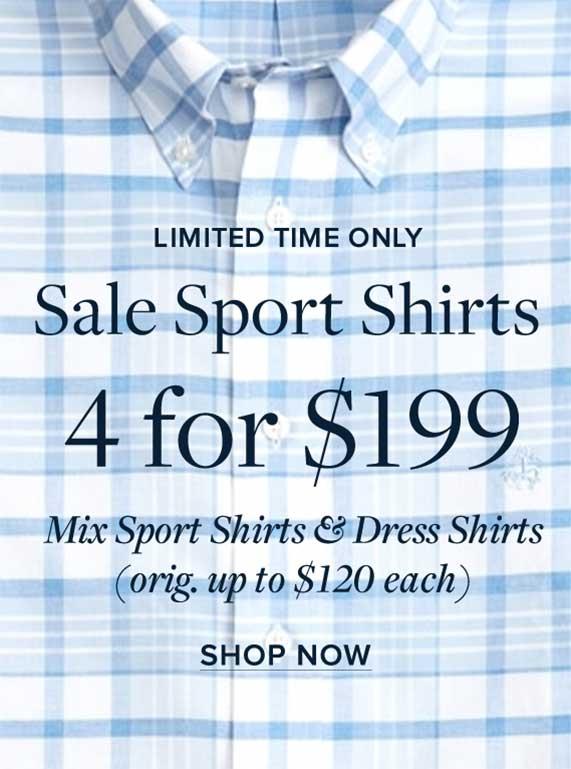 Men's Sale Sport Shirts, 4 for $199